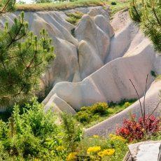 Colourful rock formations in Cappadocia, Turkey